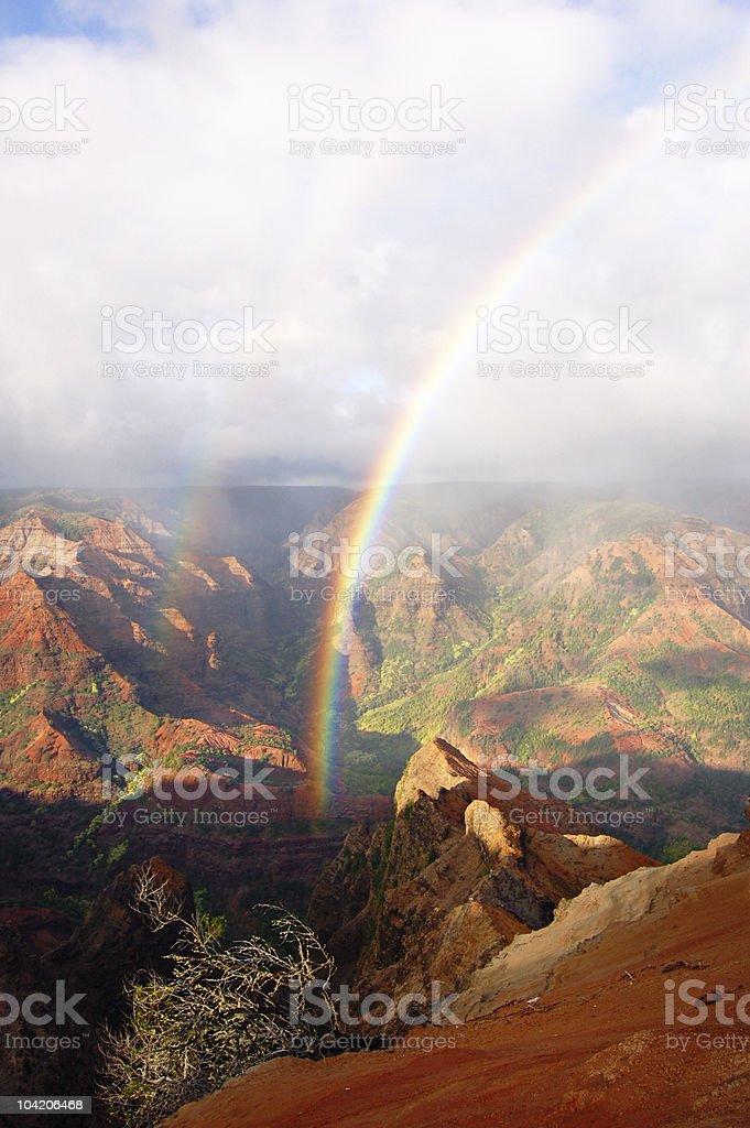 Rainbows over Waimea stock photo