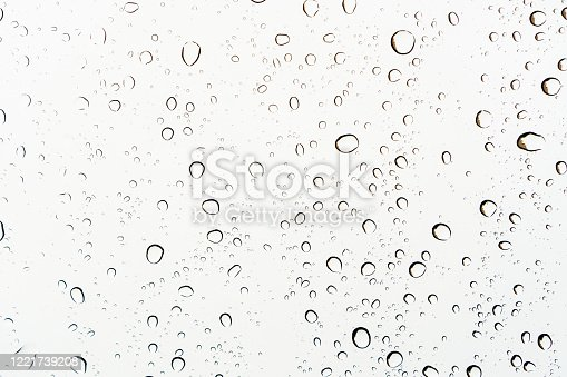 Close up of raindrops on a glass, abstract white background.