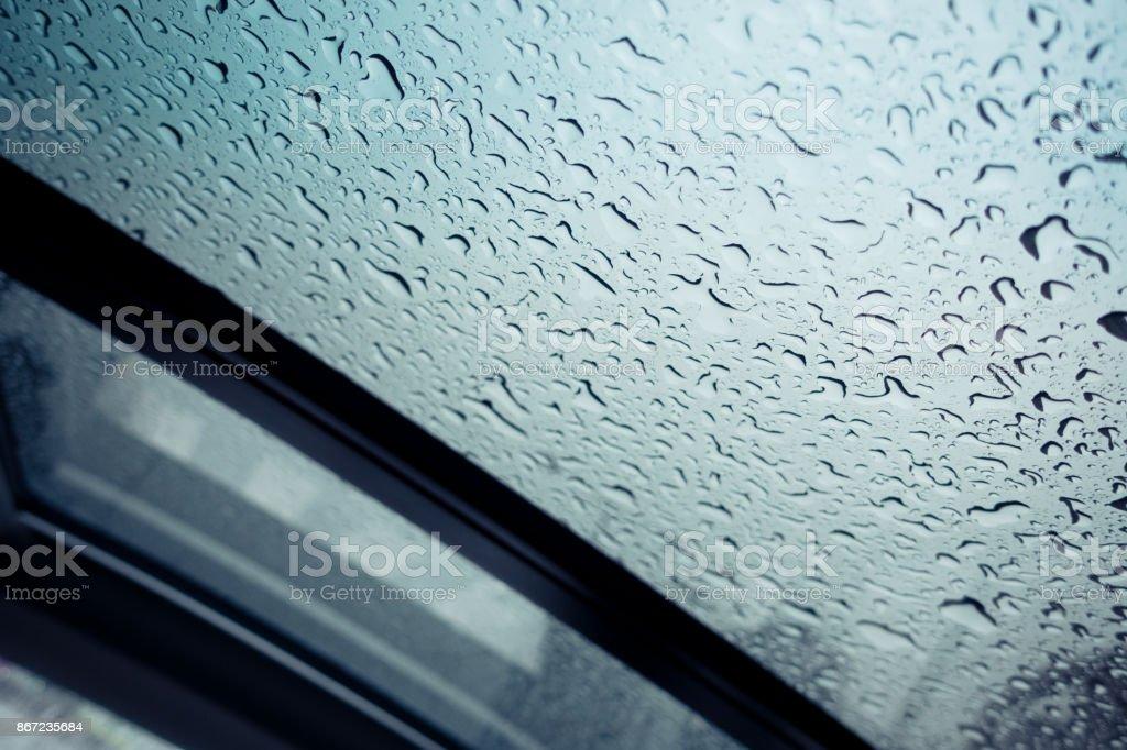 Raindrops on Sun Roof stock photo