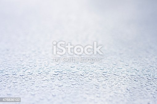 Close up of raindrops on metal surface.