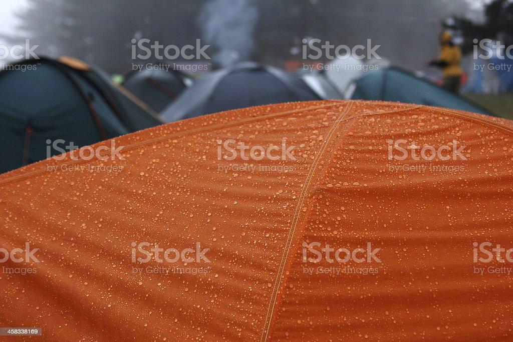 Raindrops on tent stock photo