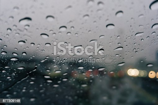 1054750504 istock photo Raindrops on the car closeup blurry background 877309148