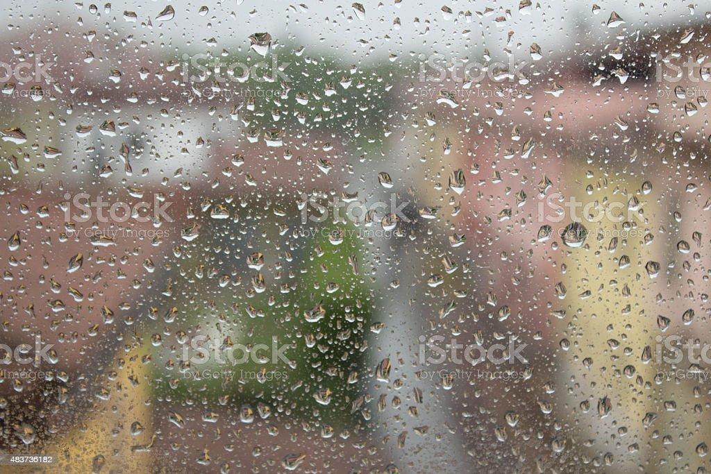 Raindrops on the glass stock photo