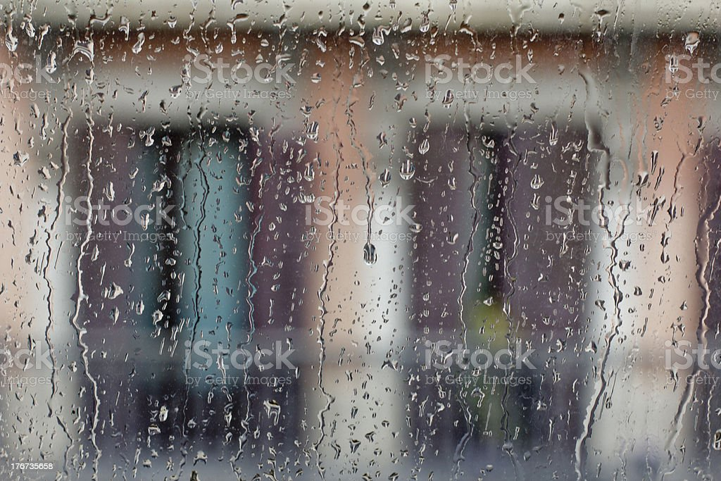 Raindrops on windowpane royalty-free stock photo