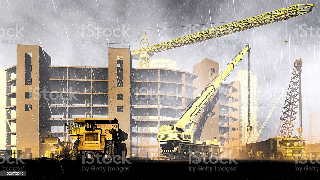 Rainfall on construction site stock photo