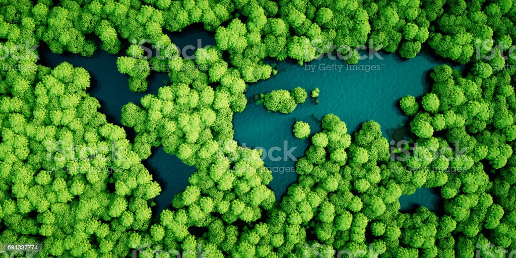 Rainforest lakes in the shape of world continents. Environmentally friendly sustainable development concept. 3D illustration. stock photo