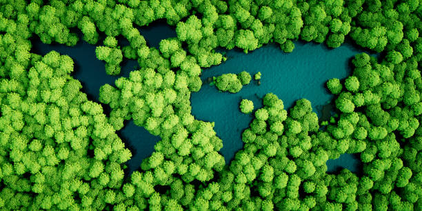 rainforest lakes in the shape of world continents. environmentally friendly sustainable development concept. 3d illustration. - sustainable living stock pictures, royalty-free photos & images