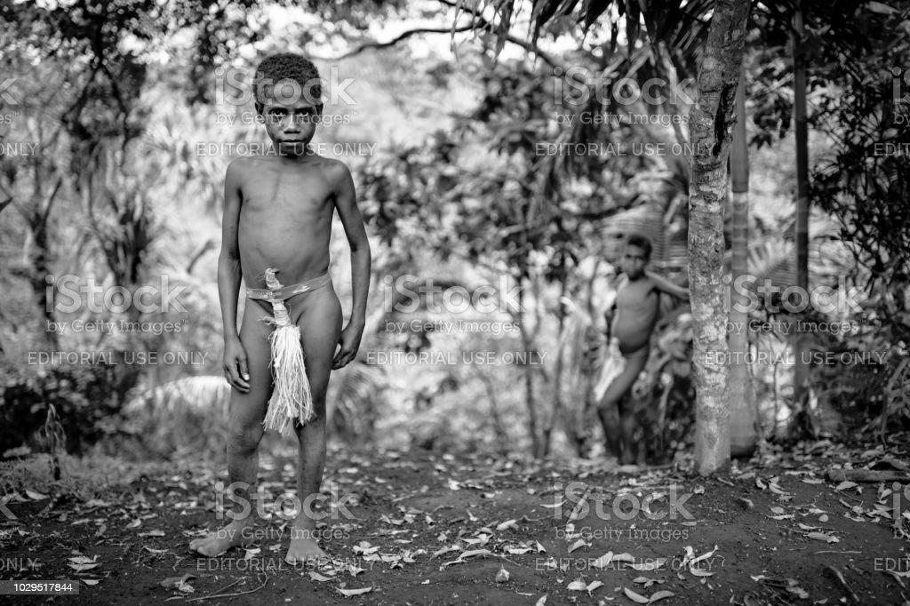 Rainforest Tanna Island Indigenous Tribe Boys Vanuatu stock photo