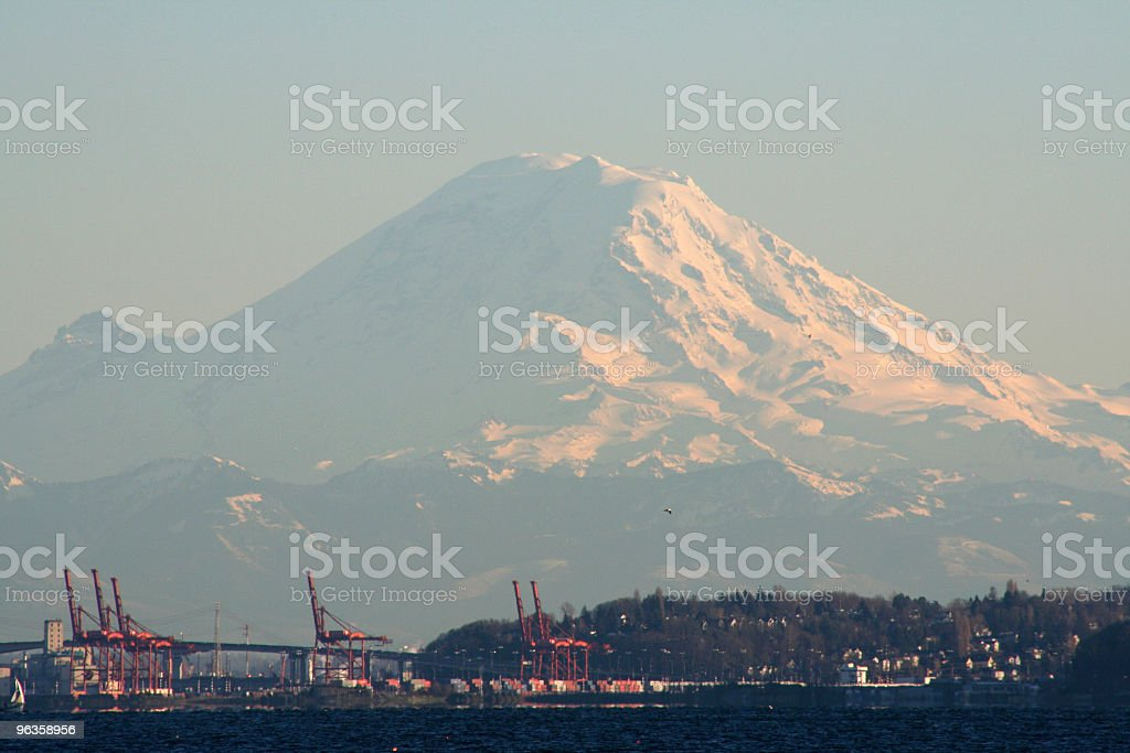 Rainier over port stock photo