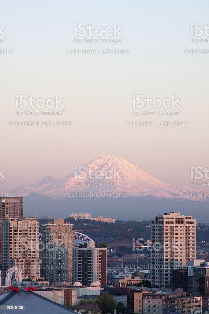 Rainier Sunset stock photo