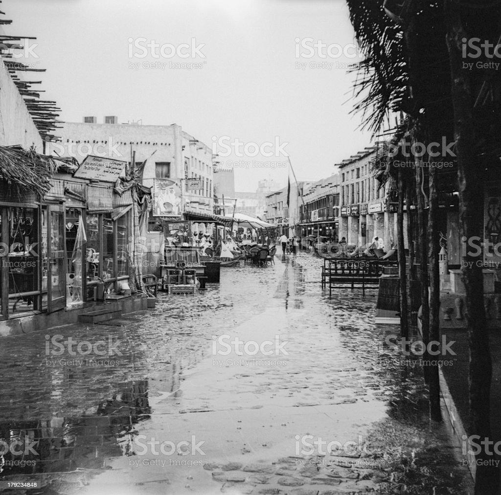 Raining at Souq Waqif stock photo
