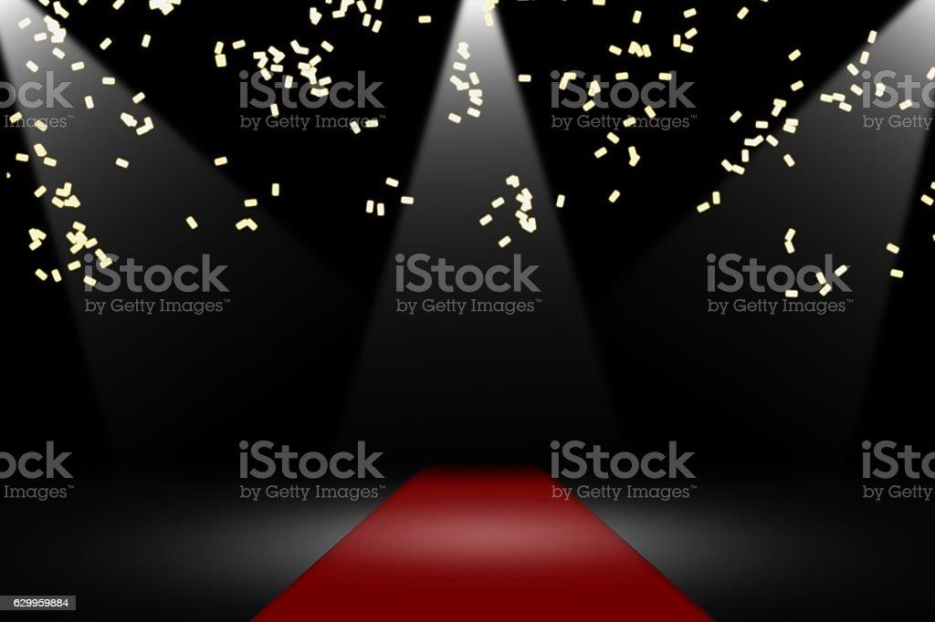raining confetti in playhouse stock photo