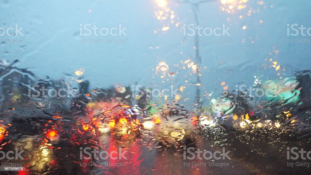 Raining day and traffic jam  on the road royalty-free stock photo