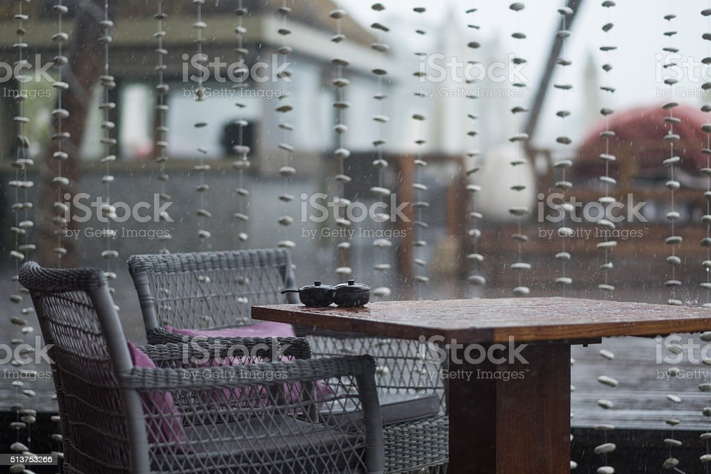 raining in the garden stock photo