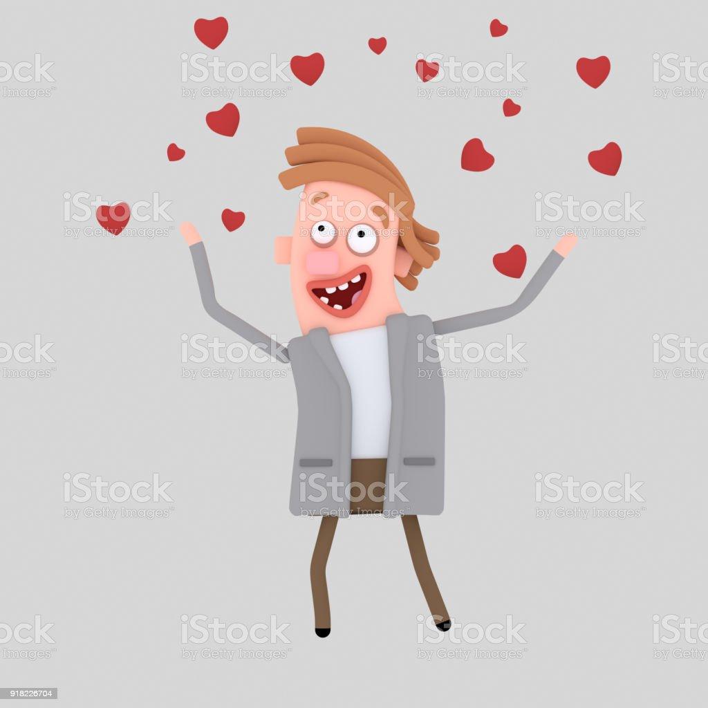 Lluvia de corazones de amor - foto de stock