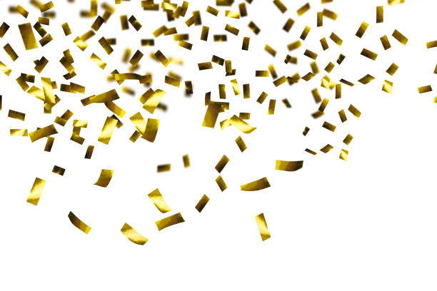 raining of golden confetti - confetti stock pictures, royalty-free photos & images