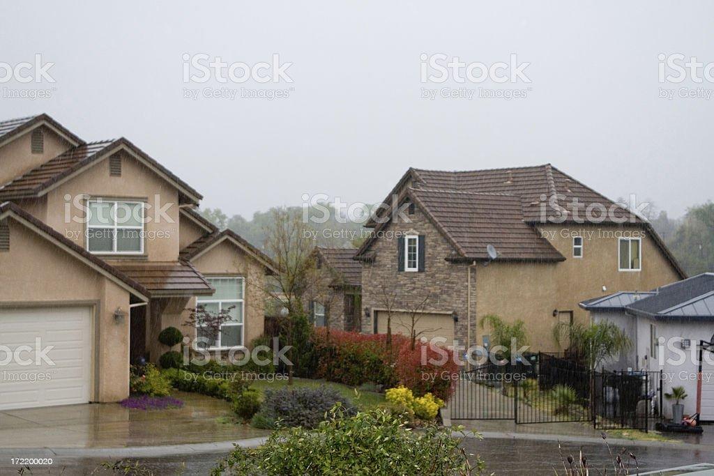 Raining On The Neighbors Homes royalty-free stock photo