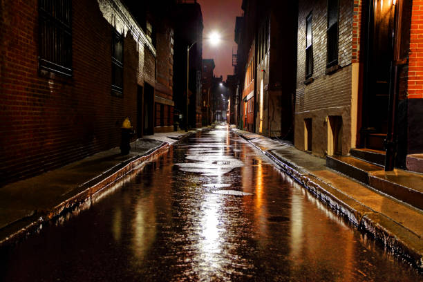 Rain-soaked urban street in Boston Massachusetts stock photo