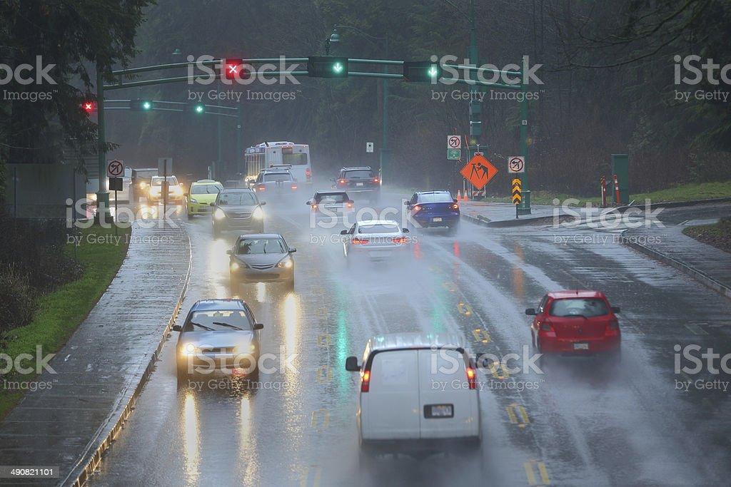 Rainstorm Commute royalty-free stock photo