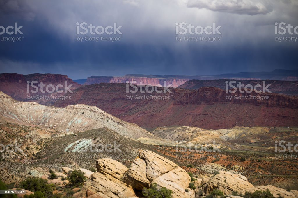 Rainstorm in Arches National Park stock photo