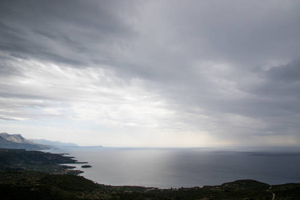Rainstorm over the Southern Peloponnese Shore stock photo