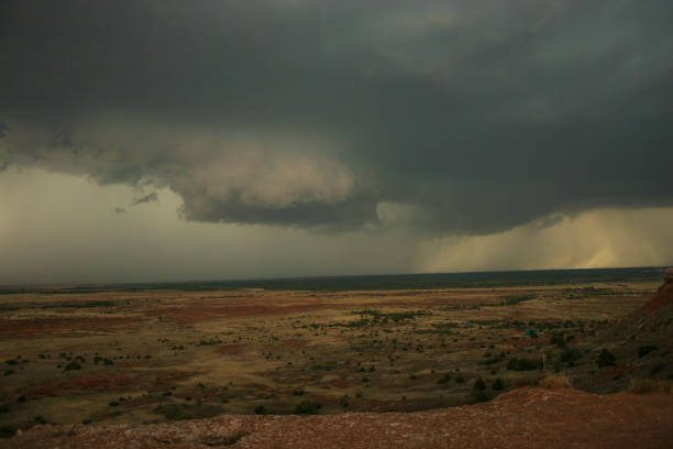 A rainstorm storm brewing over desert plains in Oklahoma, USA stock photo