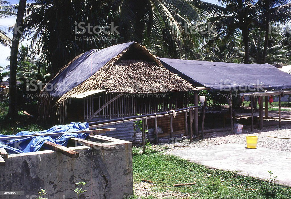 Rainwater Catchment System from Roof to Cistern Marshall Islands stock photo