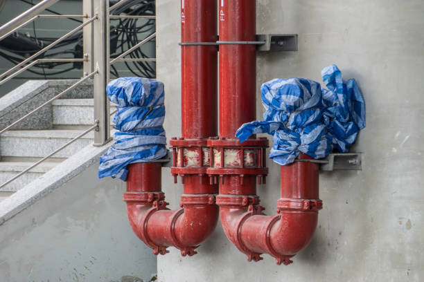 Rainwater drain Pipe From Rail Sky Train in During construction Concept stock photo