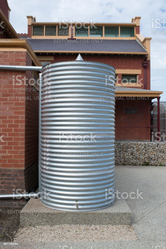 Rainwater Tank, Goodman Building, Adelaide Botanic Garden stock photo