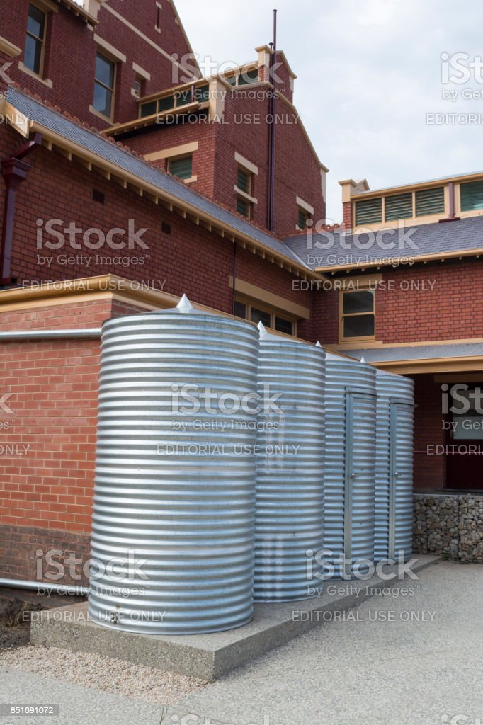 Rainwater Tanks and Storage Sheds, Goodman Building, Adelaide Botanic Garden stock photo