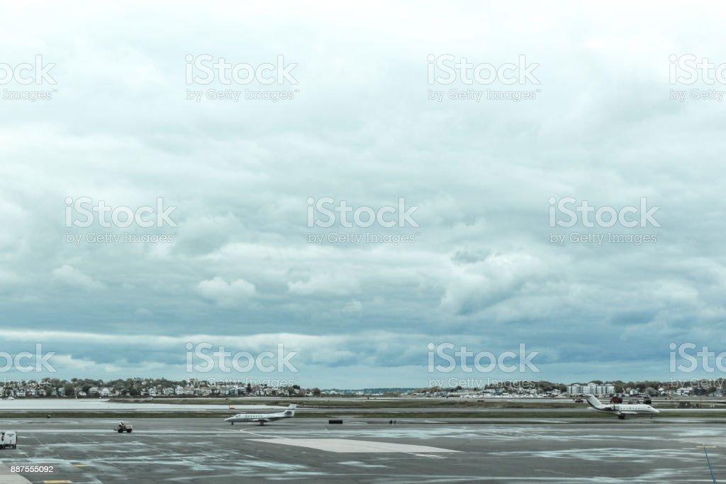 Rainy afternoon at Boston Logan Airport tarmac, May 15 2017 stock photo