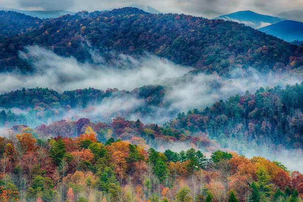 Regnerischen Herbsttag in den Great Smoky Mountains – Foto