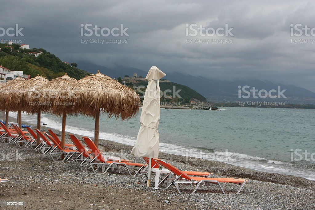 Rainy Beach stock photo