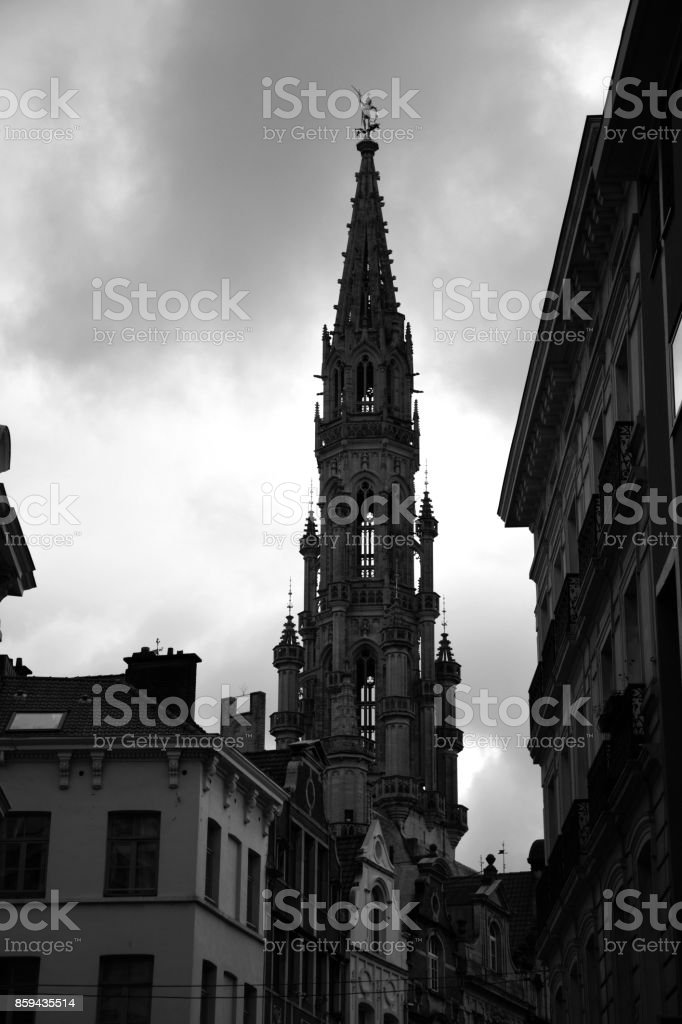 Rainy Brussels stock photo