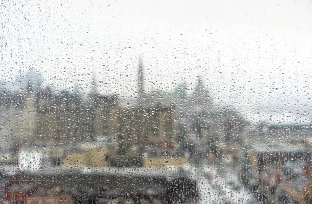 Rainy cityscape stock photo