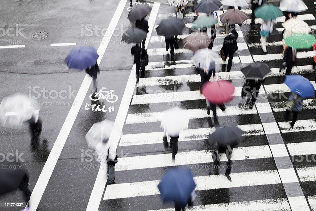 zebra crossing on a rainy day with blur motion