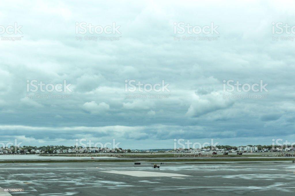 Rainy day at Boston Logan Airport tarmac, May 15 2017 stock photo