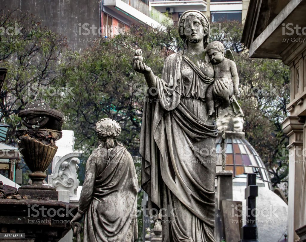 A Rainy Day at Recoleta Cemetery, in Buenos Aires, Argentina stock photo