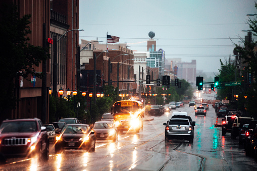 Rainy day at The Loop, St Louis, Missouri.
