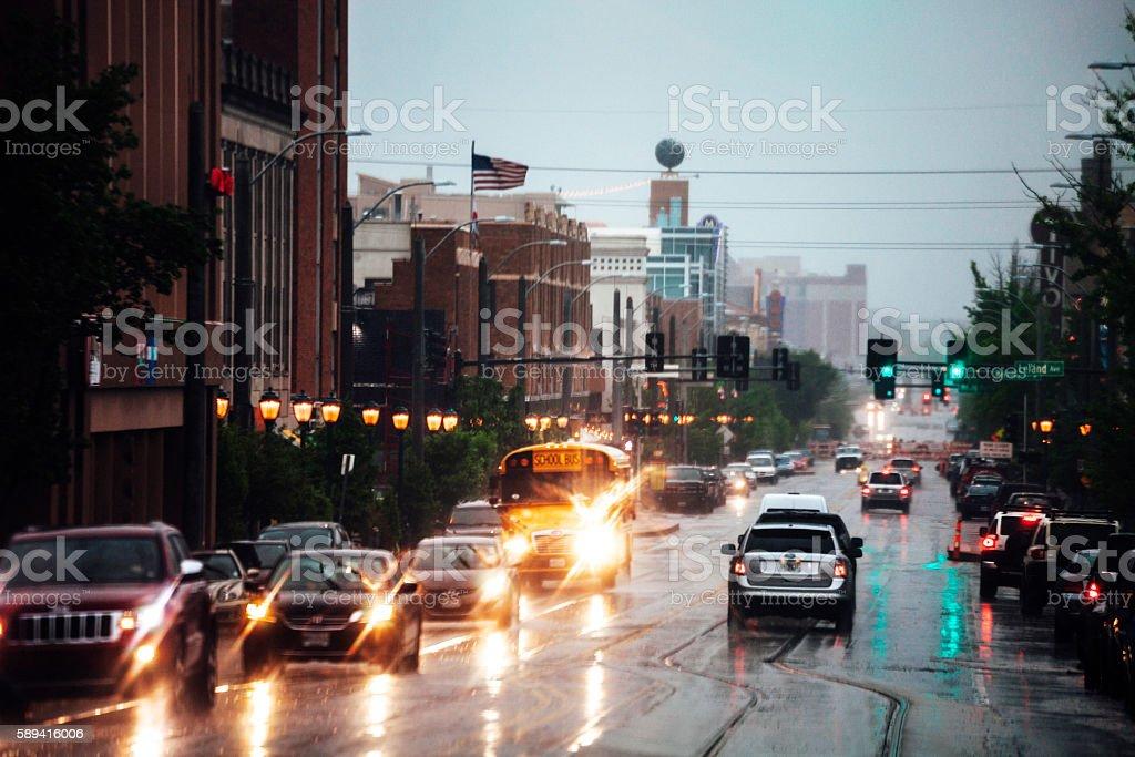 Rainy day at The Loop, St Louis, Missouri. stock photo