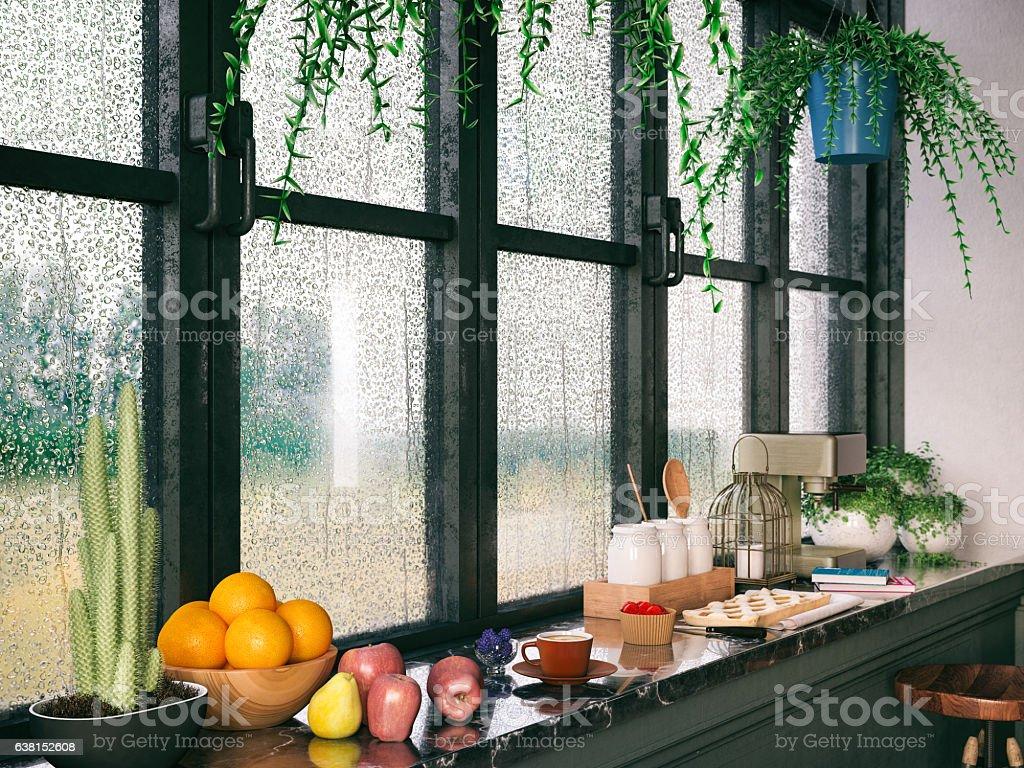 Rainy Day Breakfast stock photo