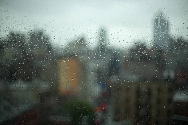 Rainy Day City Window stock photo