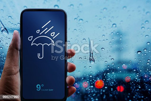 Rainy Day Concept. Hand Holding Smartphone with Weather Information show on Screen. Blurred Traffic Jam and Rain Drops on Glass Window as background