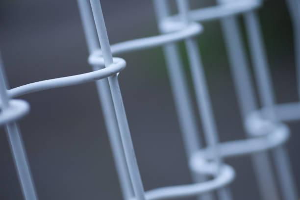 雨の日のフェンス。 ストックフォト