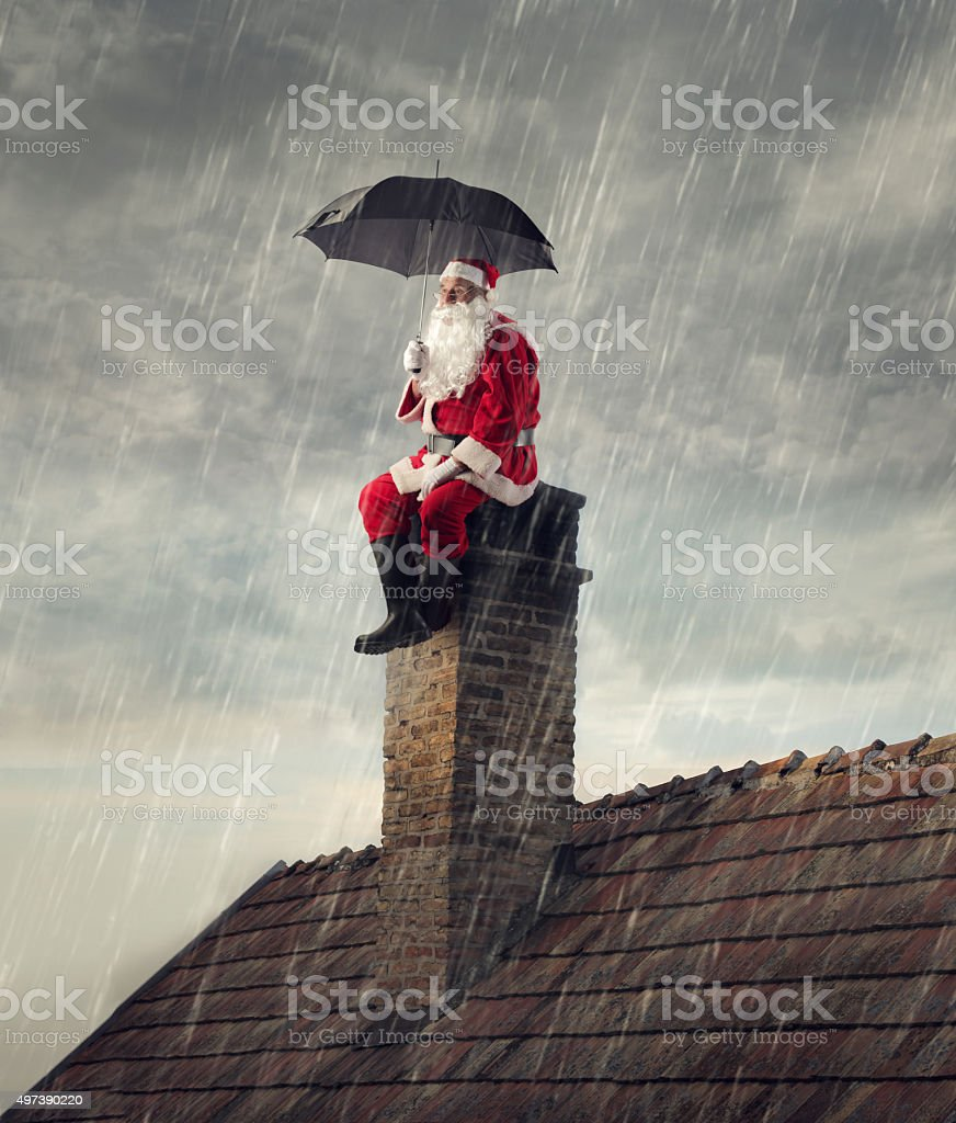 Rainy day for santa stock photo