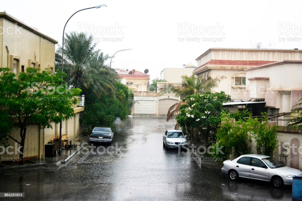 rainy day in a neighborhood royalty-free stock photo