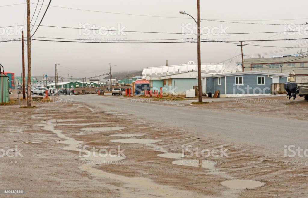 Rainy Day in an Arctic Village stock photo