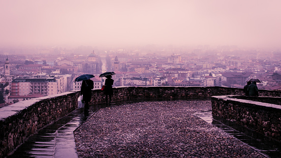 rainy day in Bergamo