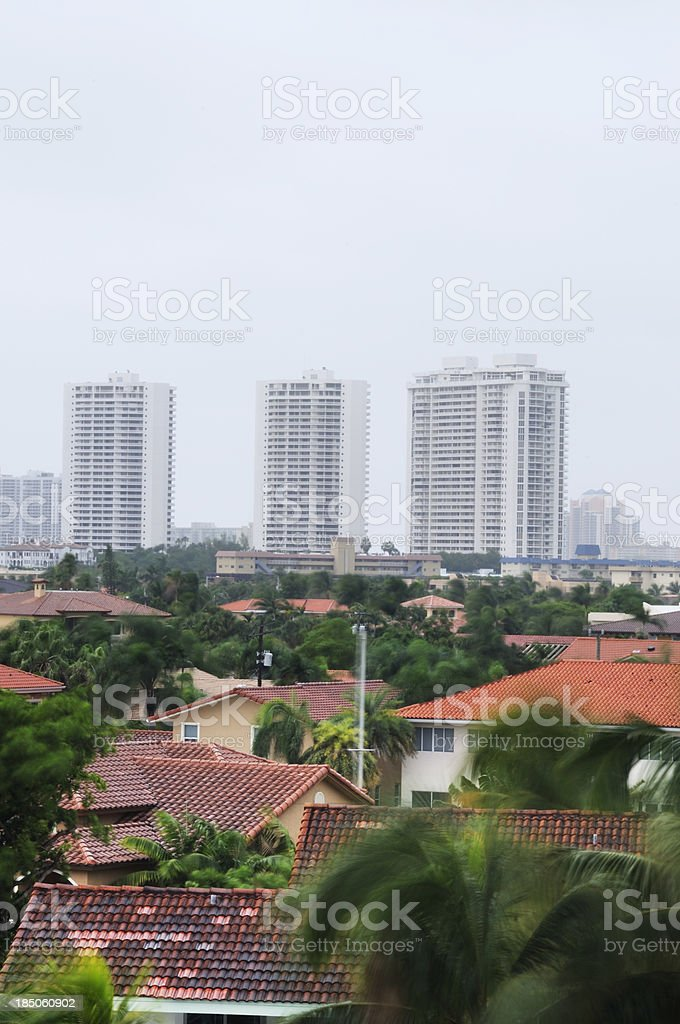 Rainy Day in Miami Neighborhood stock photo