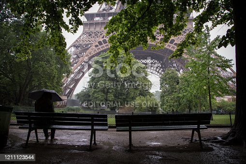 istock A rainy day in Paris. in front of the eiffel tower 1211123544
